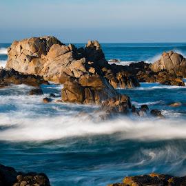 Slow down by Greg Varney - Landscapes Waterscapes ( tides, monterey, waves, beach, sunrise, rocks )