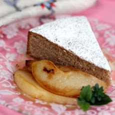 Chestnut Cake with Pan-Roasted Pears and Chestnut Honey Syrup
