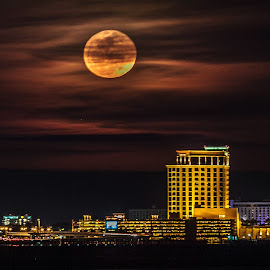Beau Rivage by Jeannie Meyer - City,  Street & Park  Night ( biloxi, moon, gulf coast, casino, nightscape, mississippi,  )