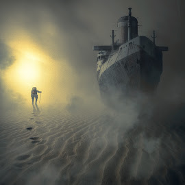 The Drifter by Dan Ludeman - Digital Art Places ( fantasy, sand, desert, dream, drifter, ship, ludeman, light )