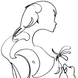 One line - Virgin and flower by Tomáš Kčméry - Drawing All Drawing ( virgin and flower, tomas krcmery, virgin, one line drawing, continuous line drawing )