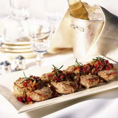 Pork Chops with Roasted Shallot, Tomato and Rosemary Relish