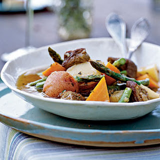 Lamb Shoulder Braised with Spring Vegetables, Green Herbs, and White Wine