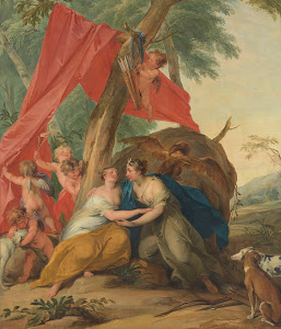 RIJKS: Jacob de Wit: Jupiter, Disguised as Diana, Seducing the Nymph Callisto 1727