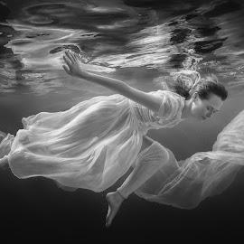 Svetlana by Dmitry Laudin - People Portraits of Women ( lace, girl, blue, underwater, dress, swim, white, light, hair )