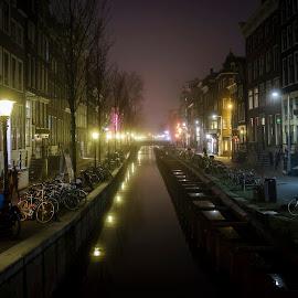 Nighttime in Adam by Morten Rasmussen - City,  Street & Park  Night ( lights, adam, nighttime, night, amsterdam )