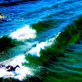 Dueling Surfers by Ronnie Caplan - Sports & Fitness Surfing ( water, surfboards, blue, green, waves, white, pacific ocean, crest, surfers )