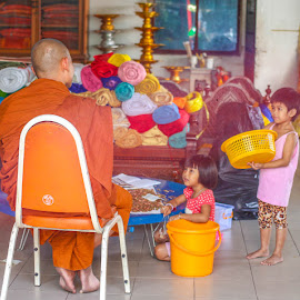 A Monk chats with two Children. by John Greene - People Family ( bangkok, temple, children, thai, kids, wat )