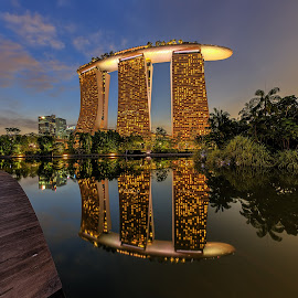 MegaStructure by Ong Chee Chung - Buildings & Architecture Office Buildings & Hotels ( water, reflection, blue hour, buildings, marina bay sands, architecture, singapore )
