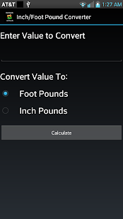 Inch/Foot Pound Converter - screenshot