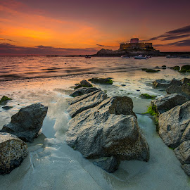 by Ben Leng - Landscapes Sunsets & Sunrises ( shore, rocquaine bay, fort gray, sunset, sea, beach, guernsey )