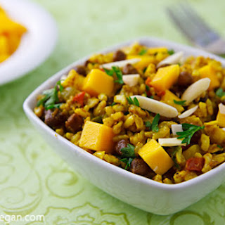 Curried Rice Salad with Black Chickpeas and Mango