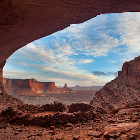 False Kiva  by Tom Cuccio - Landscapes Deserts ( false kiva, utah, canyonlands, sunset, landscape,  )