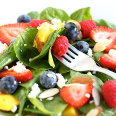Spinach Salad with Fruit, Almonds, and Feta Cheese
