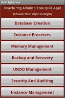 Screenshot of Oracle 11g OCA Free Quiz App