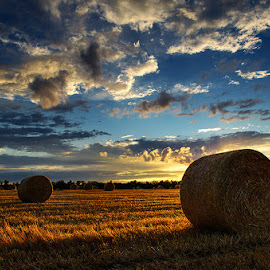 Untitled 9 by Zsolt Zsigmond - Landscapes Prairies, Meadows & Fields ( sky, hdr, backlight, sunset, haybales )