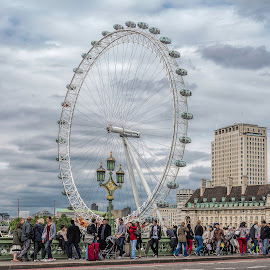 The London Eye by Vibeke Friis - City,  Street & Park  Street Scenes ( london eye, tourists, lamp post, people,  )