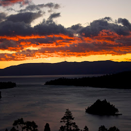 Emerald Bay morning by Jp Bergeron - Landscapes Cloud Formations ( stormy, tahoe, sunrise, morning, island )