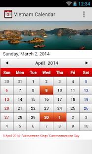Vietnam Calendar 2014 - screenshot