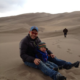 In the Sand by Sharon Different - People Family ( dunes san luis valley, home, sand, colorado, fun, great sand dunes, footprints, vacation, nature, love this place, family, natural wonders, boys, brown, men, hike )
