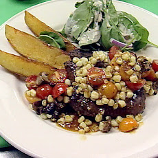 Grilled Sirloin Steak with Summer Vegetable Ragout and Steak Fries