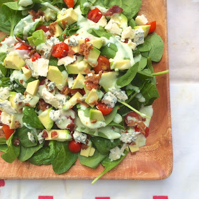BLT Spinach Salad with Avocado Chive Dressing