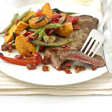Steak & Roast Vegetables With Sundried Tomato Dressing