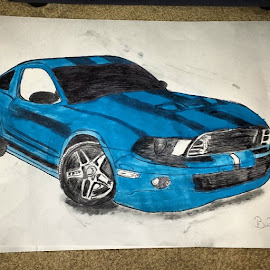 Brothers birthday gift finally done. by Belma Pelto - Painting All Painting ( car, mustang, accomplished, color, mine, paint, supersnake, cobra )