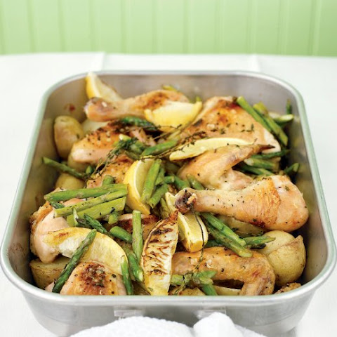 Roast Chicken with Potatoes, Lemon, and Asparagus