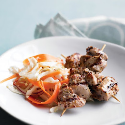 Turkey Kebabs with Cabbage Slaw