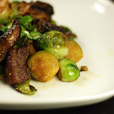 Crispy Garlic Brussels Sprouts With Amazing Soy And Honey Pork Belly