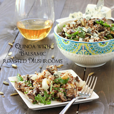 Roasted Mushroom Quinoa Salad with Pear Vinaigrette