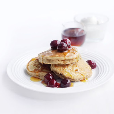 Cinnamon Buckwheat Pancakes With Cherries