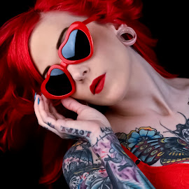 Red by Tina Marie - People Body Art/Tattoos ( fashion, red, tattoos, beauty, women, portrait, tatoo, person, people, tattoo )