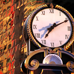 It's Time  6452 by Karen Celella - Artistic Objects Other Objects ( time, numbers, hands, clock, cocks, architecture, prints, shadows, city, object )