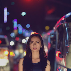 Night walker by Jerp Bremm Sangalang - People Portraits of Women ( fashion, street, beautiful, jirupi, night, bokeh, women, portrait, asian )