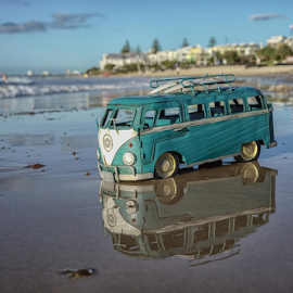 Beach Kombi Van by Howard Ferrier - Artistic Objects Toys ( sunshine coast, sand, queensland, reflection, van, waves, caloundra, beach, volkswagen, vw, toy, surfboard, kombi, kings beach, , Beach, sunset, blue, water, ocean.  )