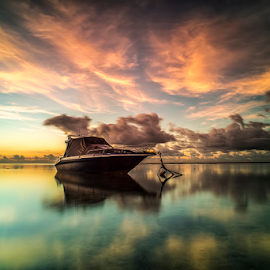 .:: rush hour ::. by Setyawan B. Prasodjo - Transportation Boats ( stranded, reflection, red sky, smooth wave, great cloud )