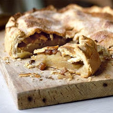 Deep-filled Bramley apple pie