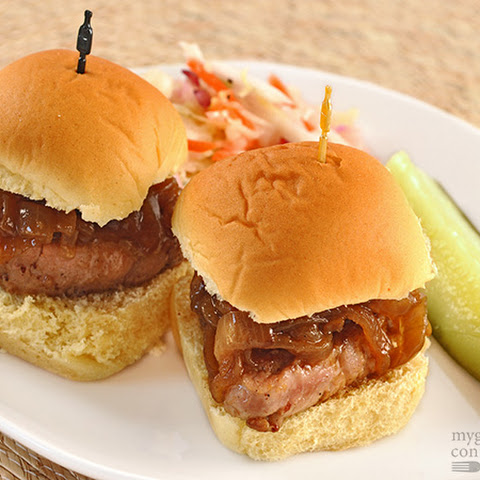 Maple-Mustard Pork Sliders with Caramelized Onions