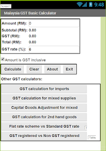 Malaysia GST Calculator (ADV) - screenshot