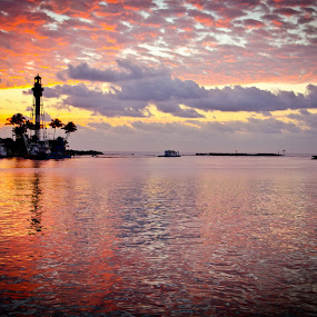 Red Sky by Pope  Africanas - Landscapes Sunsets & Sunrises ( florida, lighthouse, sunrise )