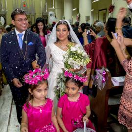 Just Married by Rajesh Kumar Gupta - Wedding Bride & Groom ( church, wedding, flowers, bride, groom )