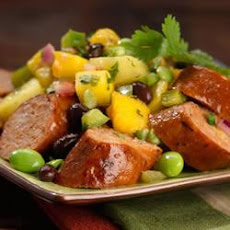 Spicy Jalapeno Chicken Sausage with Mango, Pineapple Salsa
