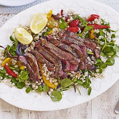Steak, Roasted Pepper & Pearl Barley Salad