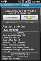Screenshot of Live Cricket Score