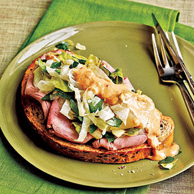 Open-Faced Roast Beef Sandwiches with Braised Cabbage Slaw & Russian Dressing