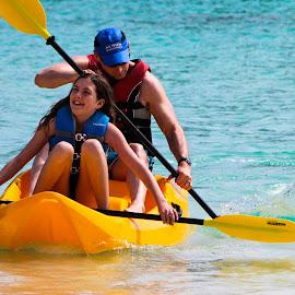 Splash by Bradford Fenton - Sports & Fitness Watersports ( water, girl, blue, yellow, kayak )