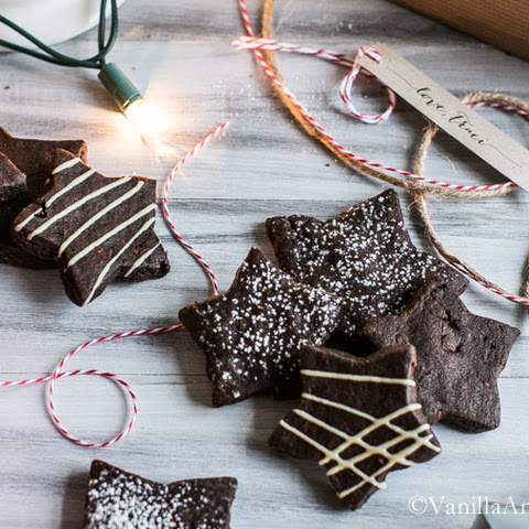Dark Chocolate Cocoa Nib Shortbread Cookies