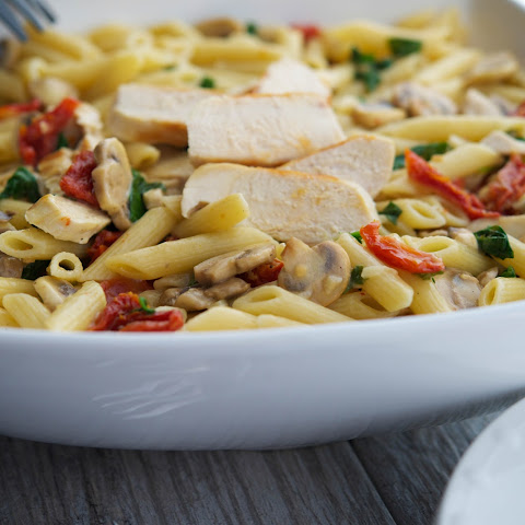 Penne with Grilled Chicken & Vegetables in a Lemon Butter White Wine Sauce